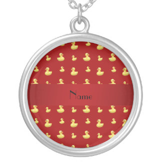 Personalized name red rubber duck pattern necklace