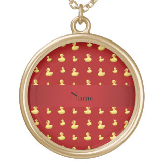 Personalized name red rubber duck pattern jewelry