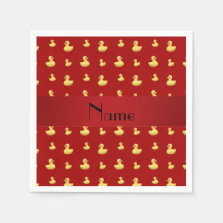 Personalized name red rubber duck pattern standard cocktail napkin