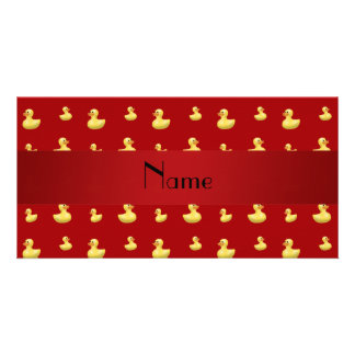 Personalized name red rubber duck pattern photo card