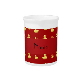 Personalized name red rubber duck pattern pitcher