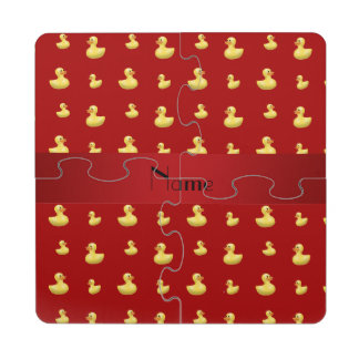 Personalized name red rubber duck pattern puzzle coaster