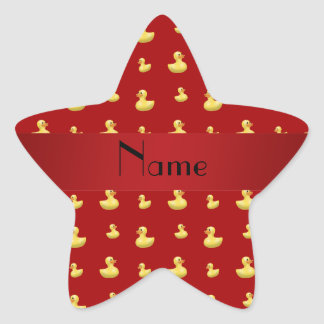 Personalized name red rubber duck pattern star sticker
