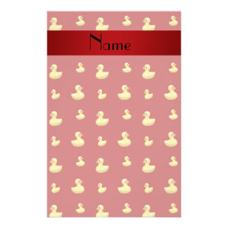 Personalized name red rubber duck pattern stationery design