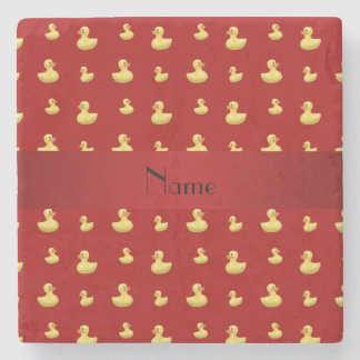 Personalized name red rubber duck pattern stone coaster