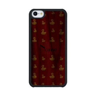 Personalized name red rubber duck pattern carved® walnut iPhone 5C case