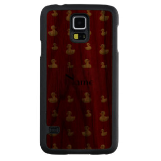 Personalized name red rubber duck pattern carved® walnut galaxy s5 slim case