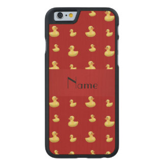 Personalized name red rubber duck pattern carved® maple iPhone 6 case