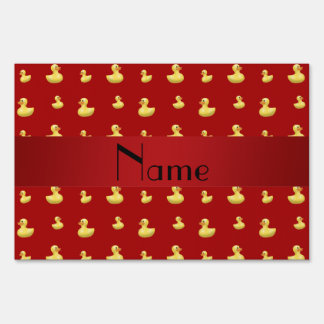 Personalized name red rubber duck pattern yard sign