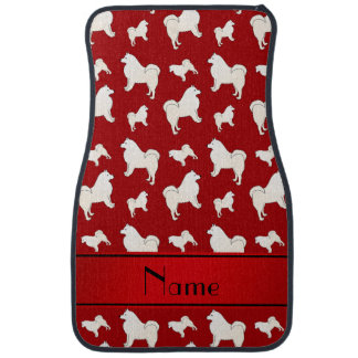 Personalized name red Samoyed dogs Car Floor Mat