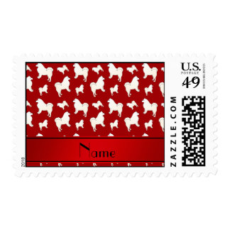 Personalized name red Samoyed dogs Stamp