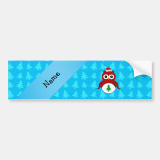 Personalized name red santa owl blue trees bumper sticker