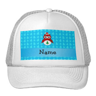 Personalized name red santa owl blue trees hat