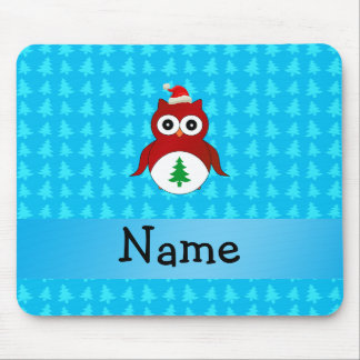 Personalized name red santa owl blue trees mouse pad