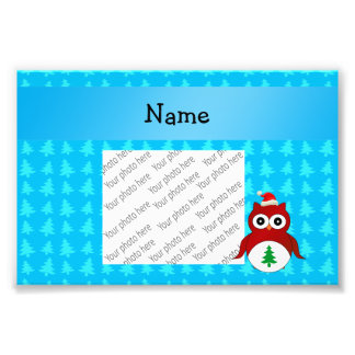 Personalized name red santa owl blue trees photo