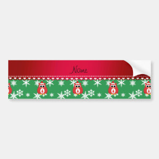 Personalized name red santa owl green snowflakes car bumper sticker