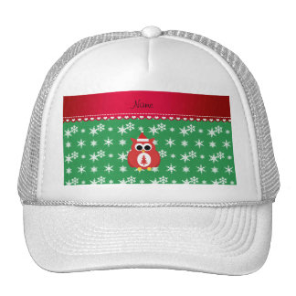 Personalized name red santa owl green snowflakes hat