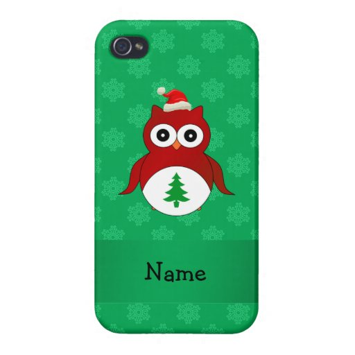 Personalized name red santa owl green snowflakes iPhone 4/4S covers