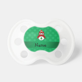 Personalized name red santa owl green snowflakes pacifier