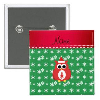 Personalized name red santa owl green snowflakes pinback button
