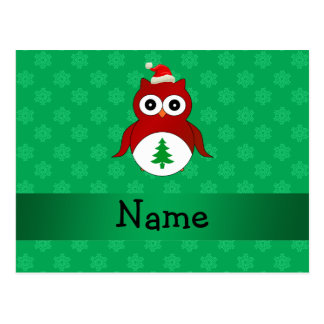 Personalized name red santa owl green snowflakes post card