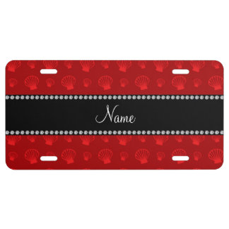 Personalized name red shells license plate