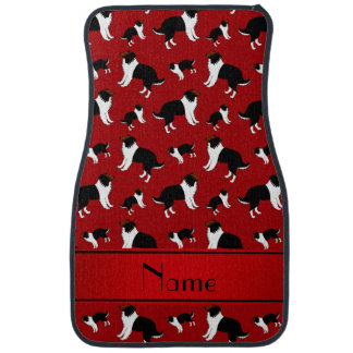 Personalized name red Shetland Sheepdogs Car Mat