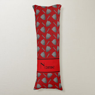 Personalized name red shields and swords body pillow