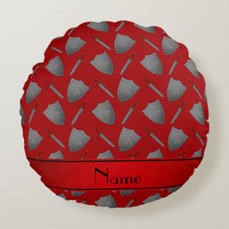 Personalized name red shields and swords round pillow