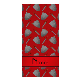 Personalized name red shields and swords photo card template
