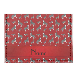 Personalized name red siberian husky dogs tyvek® card case wallet