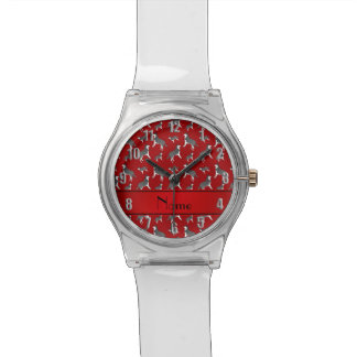 Personalized name red siberian husky dogs watch