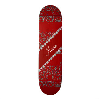 Personalized name red silver lace skate deck