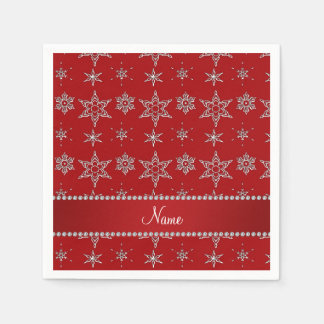 Personalized name red silver snowflakes red stripe disposable napkins