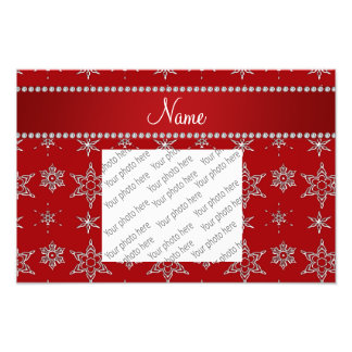 Personalized name red silver snowflakes red stripe photo art