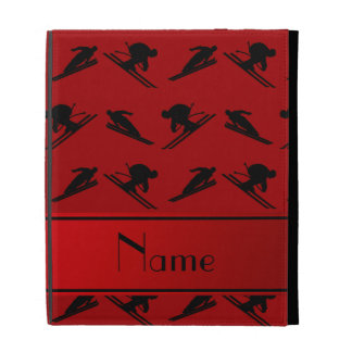 Personalized name red ski pattern iPad folio cases