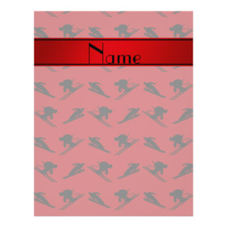 "Personalized name red ski pattern 8.5"" x 11"" flyer"