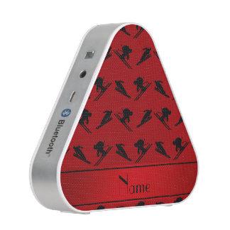 Personalized name red ski pattern speaker
