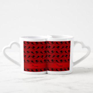 Personalized name red ski pattern couples' coffee mug set