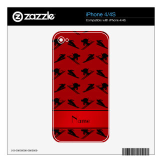 Personalized name red ski pattern skins for the iPhone 4