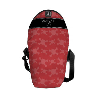 Personalized name red skulls pattern courier bag