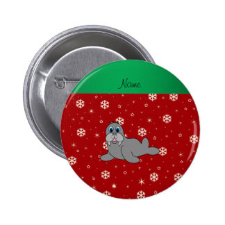 Personalized name red snowflake walrus pin