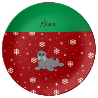 Personalized name red snowflake walrus porcelain plates