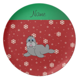 Personalized name red snowflake walrus plate