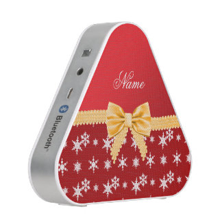 Personalized name red snowflakes gold bow speaker