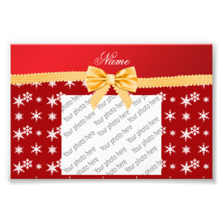Personalized name red snowflakes gold bow photographic print