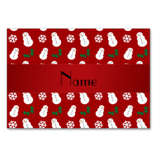 Personalized name red snowman christmas table cards