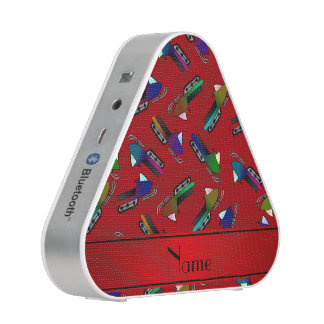 Personalized name red snowmobiles bluetooth speaker
