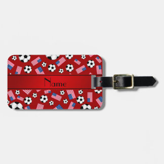 Personalized name red soccer american flag travel bag tag