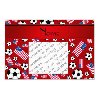 Personalized name red soccer american flag photo print